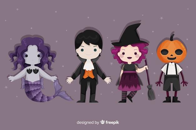 Conjunto de disfraces de personajes de halloween vector gratuito