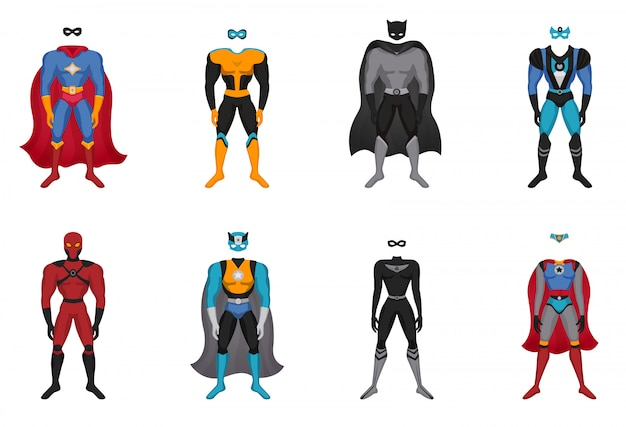 Conjunto de disfraces de superhéroe vector gratuito