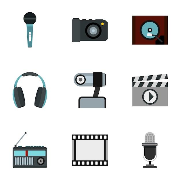 Conjunto de dispositivos electrónicos, estilo plano Vector Premium