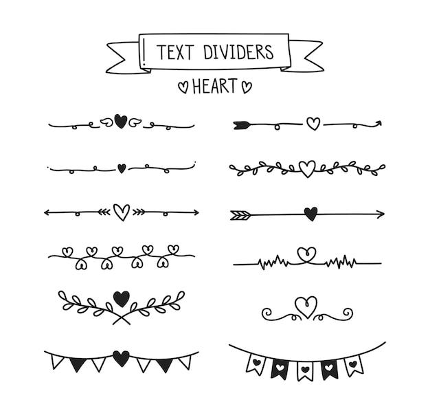 Conjunto de divisor de texto de corazón. Vector Premium