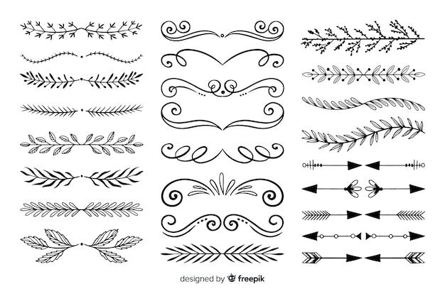 Conjunto de divisores ornamentales dibujados a mano vector gratuito