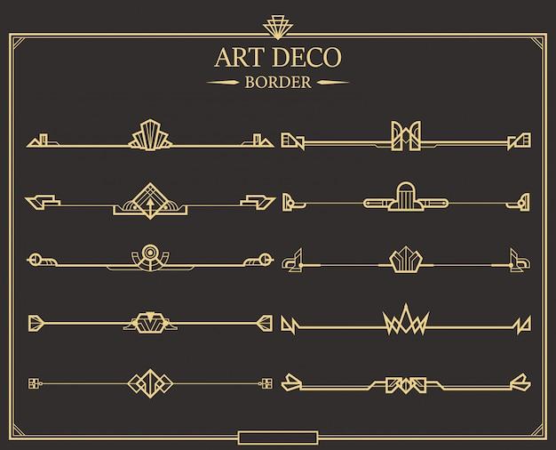 Conjunto de divisores de página caligráficos de oro art decó. Vector Premium