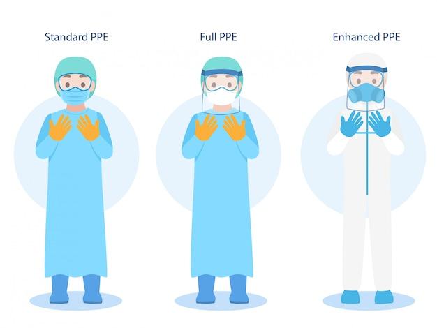 Conjunto de doctores carácter vistiendo en ppe traje de protección personal ropa aislada y equipo de seguridad Vector Premium