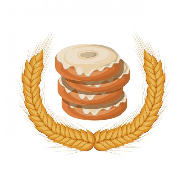 Conjunto de donas de panadería fresca y deliciosa Vector Premium