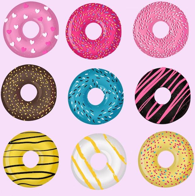 Conjunto de donuts Vector Premium