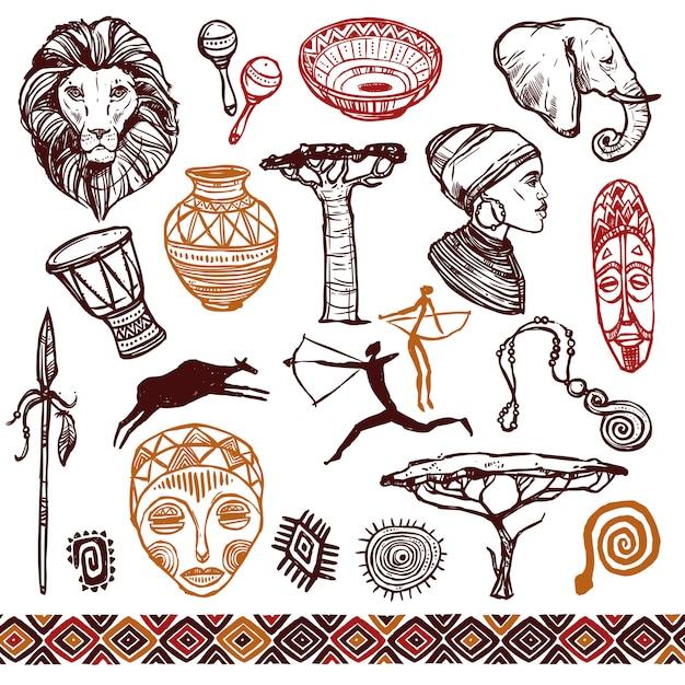 Conjunto de doodle de áfrica vector gratuito