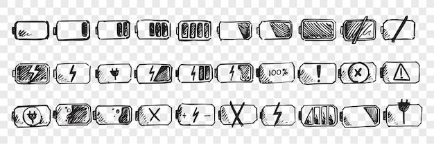 Conjunto de doodle de batería móvil dibujado a mano Vector Premium