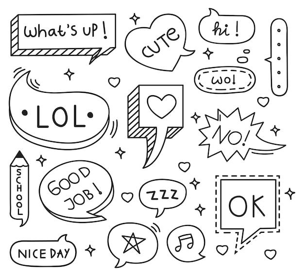 Conjunto de doodle de burbuja discurso lindo Vector Premium
