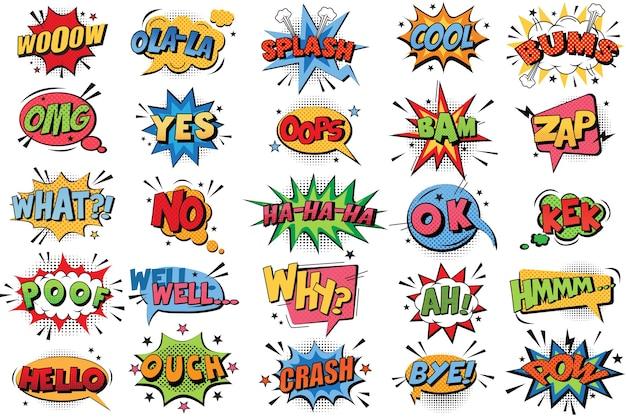 Conjunto de doodle de burbujas de cómic. colección de explosiones de colores emocionales de dibujos animados divertido discurso cómico nubes cómics palabras pensamiento burbujas de sueño texto conversación ilustración Vector Premium
