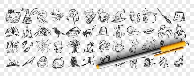 Conjunto de doodle de halloween. colección de patrones de plantillas de bocetos a lápiz dibujados a mano de murciélagos calabazas zombies búhos ghots criaturas sobre fondo transparente. ilustración de todos los símbolos del día de los santos. Vector Premium