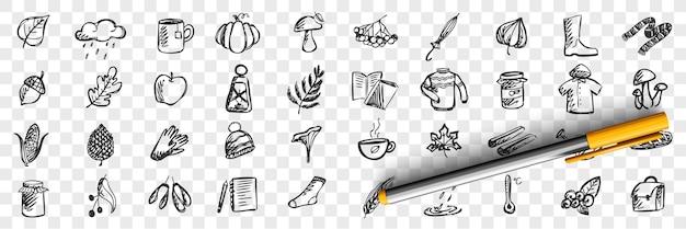 Conjunto de doodle de otoño. colección de patrones dibujados a mano, plantillas de bocetos de lluvia de lluvia, hongos, temperatura fría y charcos sobre fondo transparente. ilustración de la temporada meteorológica. Vector Premium