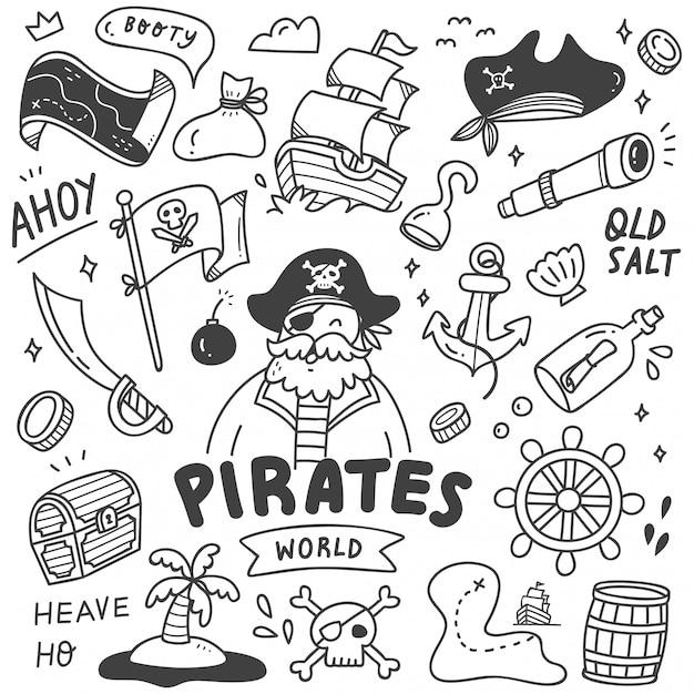 Conjunto de doodle de piratas lindos Vector Premium