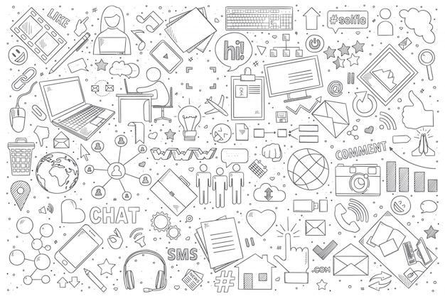 Conjunto de doodle de redes sociales Vector Premium