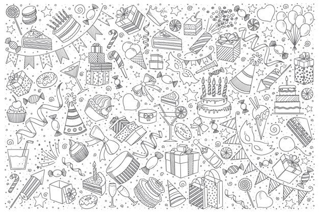 Conjunto de doodle de vacaciones Vector Premium