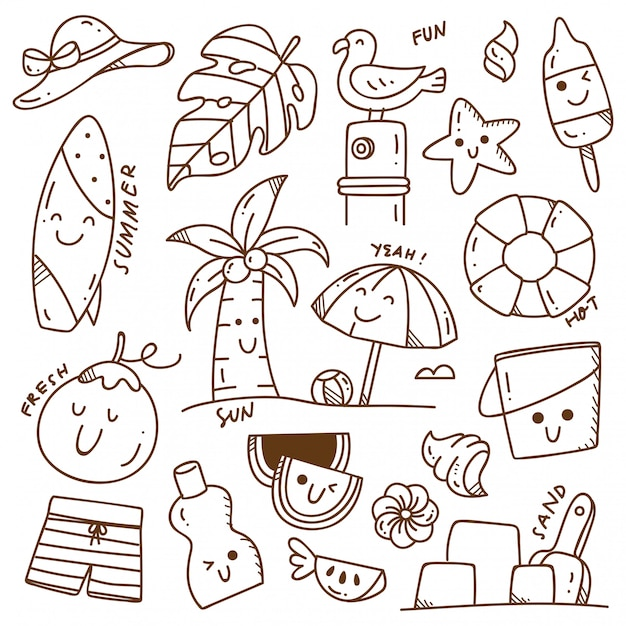 Conjunto de doodle de verano Vector Premium