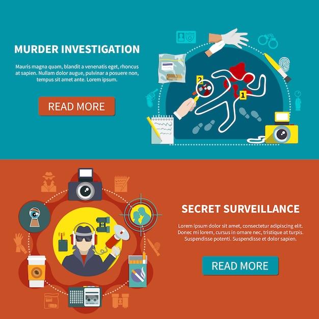 Conjunto de dos pancartas de detectives vector gratuito