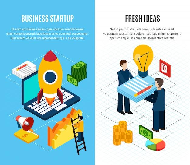 Conjunto de dos pancartas de marketing digital vertical isométrica con herramientas para el inicio de negocios 3d aislado vector gratuito