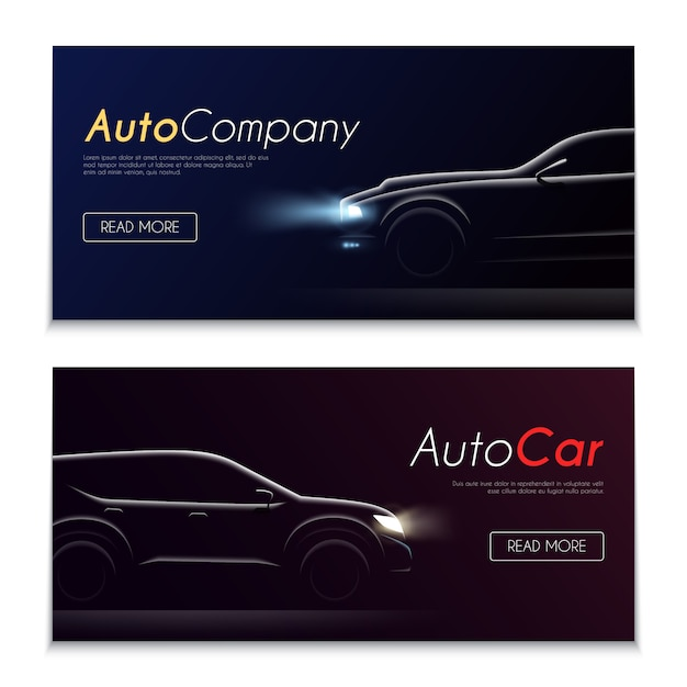 Conjunto de dos pancartas oscuras horizontales de perfil realista de coche con botones editables texto e imágenes de automóviles ilustración vectorial vector gratuito
