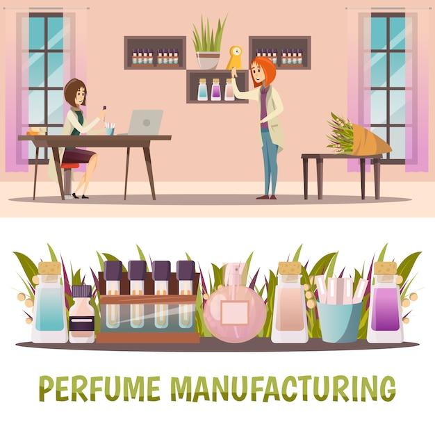 Conjunto de dos pancartas de perfumería de color horizontal con fabricación de perfumes y producto terminado. vector gratuito