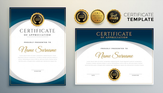 Conjunto de dos plantillas de certificado o diploma azul moderno vector gratuito