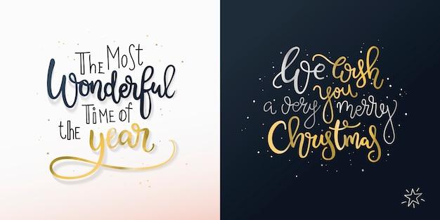Conjunto de dos tarjetas navideñas con saludos a mano alzada. Vector Premium