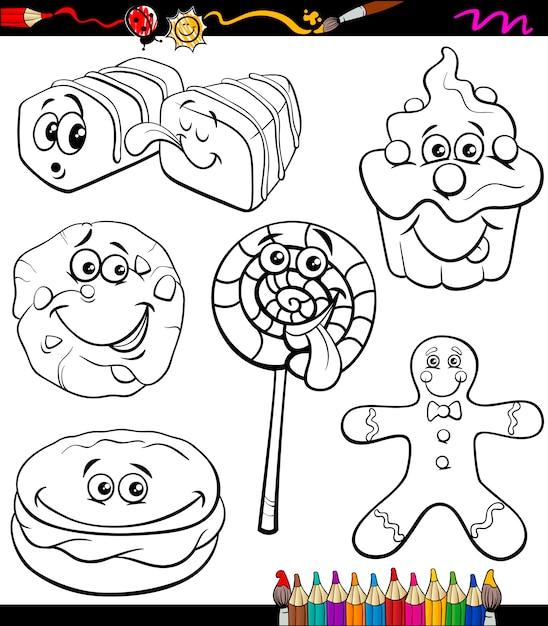 Conjunto De Dulces Libro De Colorear De Dibujos Animados Descargar