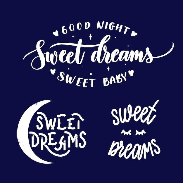 Conjunto de dulces sueños Vector Premium