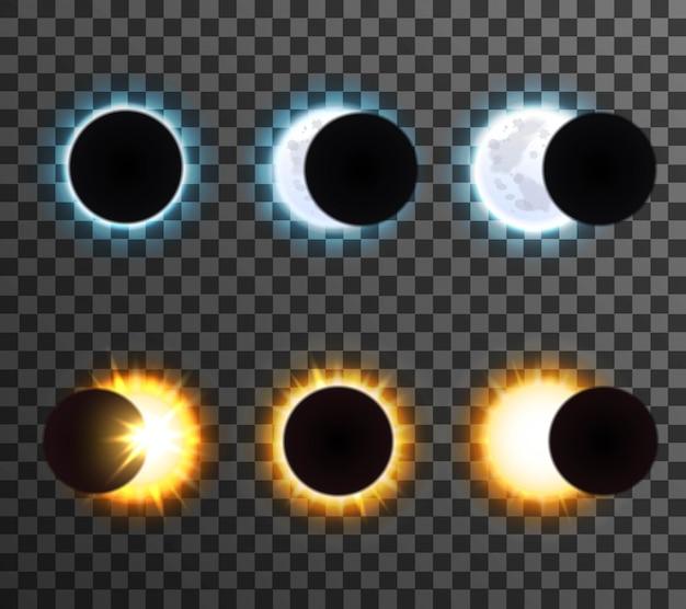 Conjunto eclipse sol y luna vector gratuito