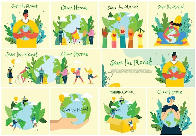 Conjunto de eco guardar imágenes del medio ambiente. personas cuidando collage del planeta. cero desperdicio, piensa en verde, salva el planeta, nuestro texto escrito a mano en el diseño Vector Premium
