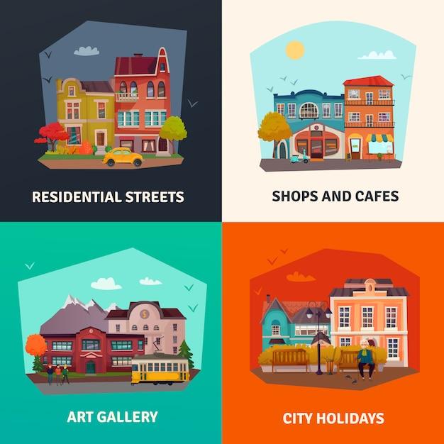 Conjunto de edificios de la ciudad vector gratuito