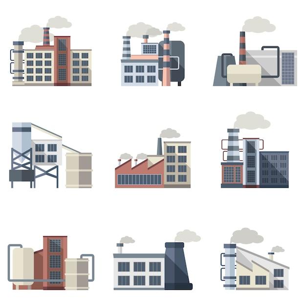 Conjunto de edificios industriales vector gratuito