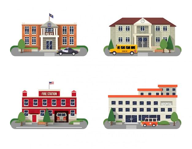 Conjunto de edificios municipales vector gratuito