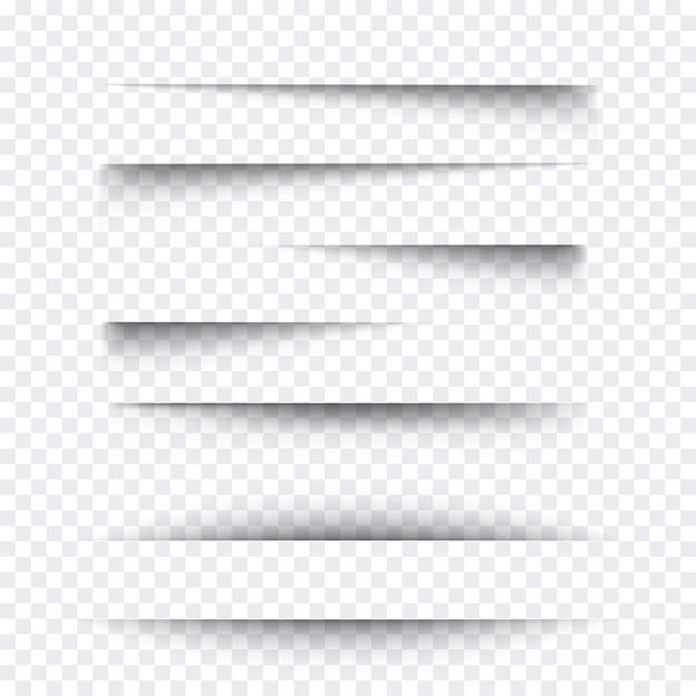 Conjunto de efecto de sombra de papel realista transparente. banner web elemento de mensaje publicitario y promocional aislado sobre fondo. ilustración para su diseño, plantilla y sitio. Vector Premium