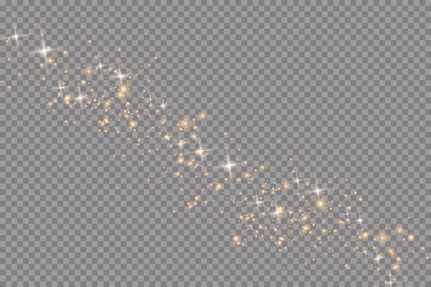 Conjunto de efectos de luces brillantes doradas sobre fondo transparente. destello de sol con rayos y foco. efecto de luz brillante. estrella estalló con destellos. Vector Premium