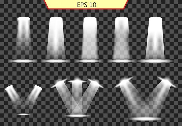 Conjunto de efectos luminosos, colección de iluminación. Vector Premium