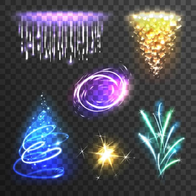 Conjunto de efectos de luz vector gratuito