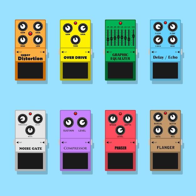 Conjunto de efectos de pedales de guitarra: distorsión, overdrive, ecualizador, retardo, ruido, compresor, phaser y flanger, ilustración de estilo Vector Premium