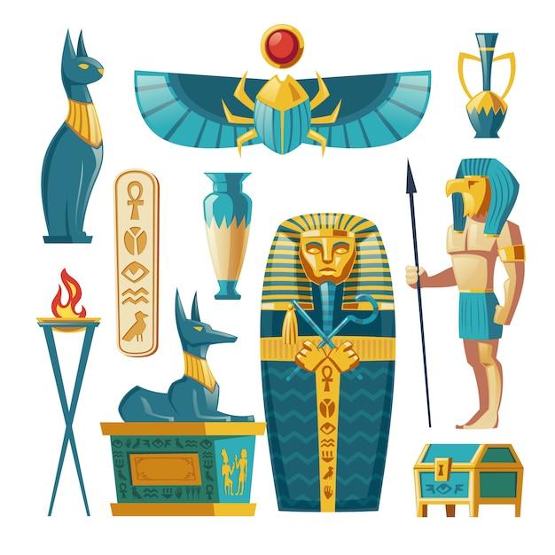 Conjunto egipcio - faraón sarcófago, dioses antiguos y otros símbolos de la cultura. vector gratuito