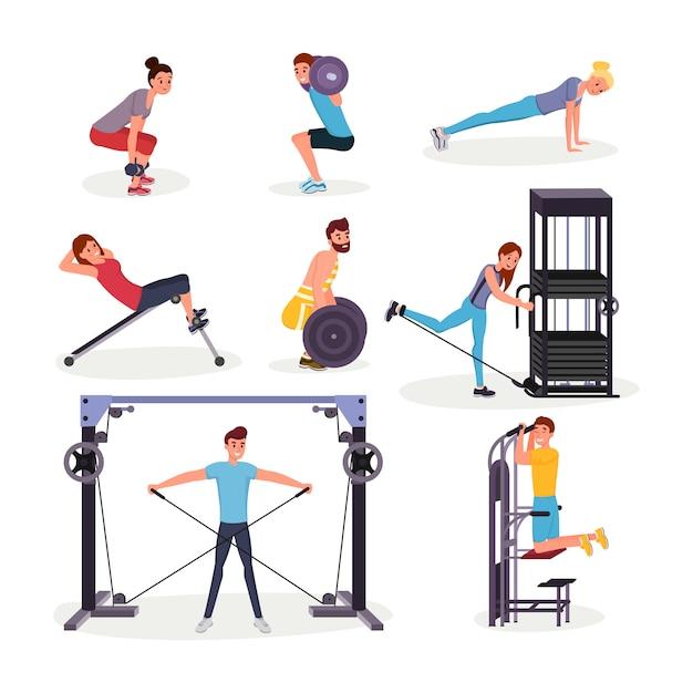 Conjunto de ejercicios deportivos planos Vector Premium