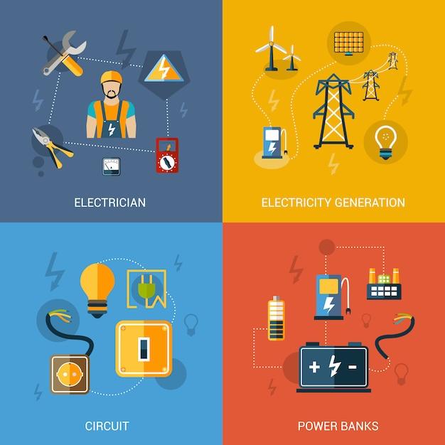 Conjunto de electricidad plana vector gratuito
