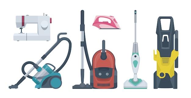 Conjunto de electrodomésticos planos. aspiradora, máquina de coser, plancha. ilustración. colección Vector Premium