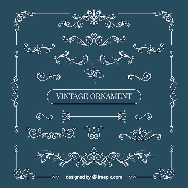 Conjunto elegante de adornos vintage vector gratuito