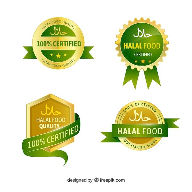 Conjunto elegante de etiquetas de comida halal con estilo dorado vector gratuito