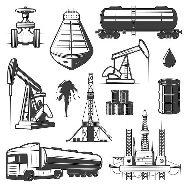 Conjunto de elementos de aceite de extracción vintage vector gratuito