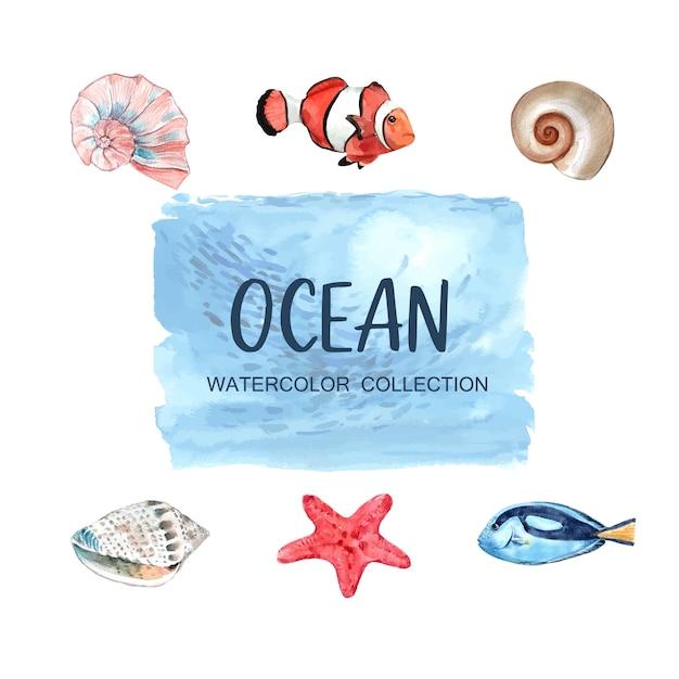 Conjunto de elementos aislados de animales marinos vector gratuito