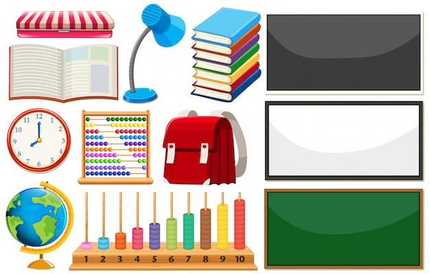 Conjunto de elementos de aprendizaje. vector gratuito