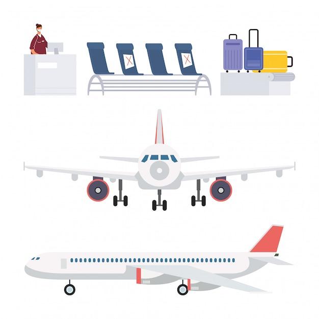 Vector Premium | Conjunto de elementos de avión y aeropuerto.