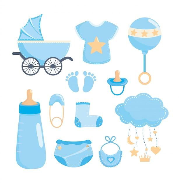 Conjunto de elementos de baby shower. vector gratuito