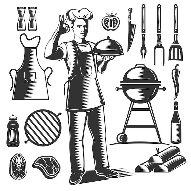 Conjunto de elementos de barbacoa vintage negro aislado con figura de chef y sus platos vector gratuito