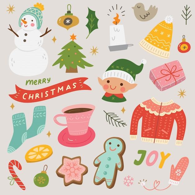 Conjunto de elementos de bloc de notas de navidad y año nuevo Vector Premium